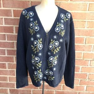 Heirloom Collectibles Embroidered Zip Front  Cardi